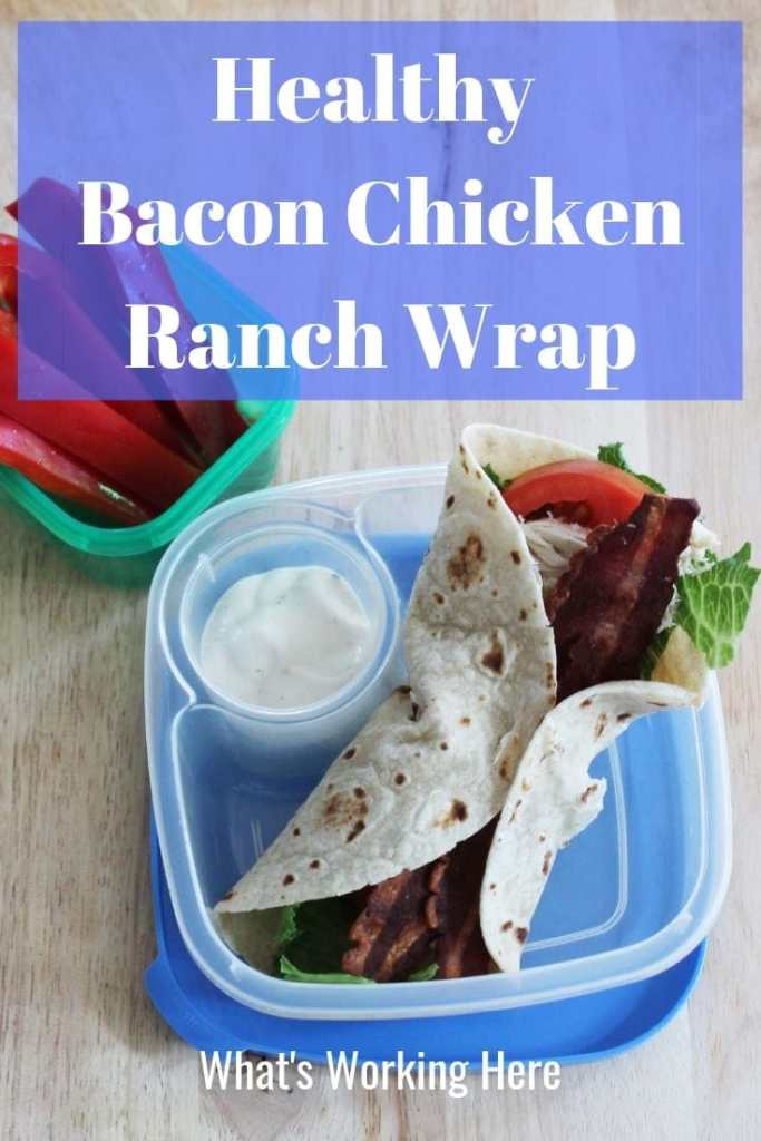 Healthy Bacon Chicken Ranch Wrap with red bell pepper