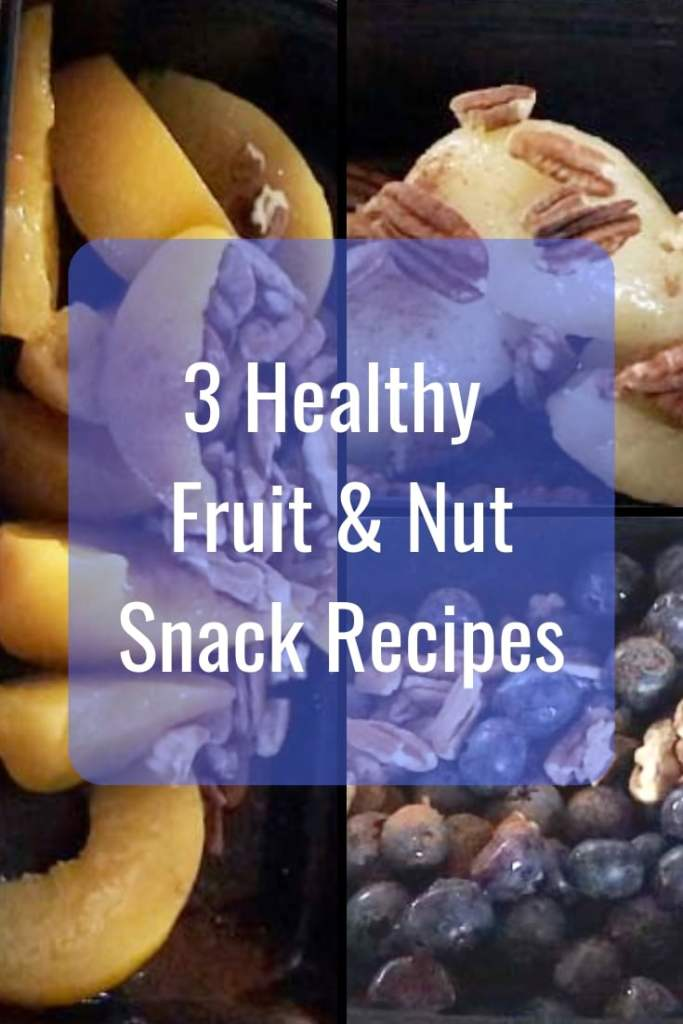 3 Healthy Fruit & Nut Snack Recipes that taste like dessert, peaches, pears, blueberries & pecans with a dash of cinnamon