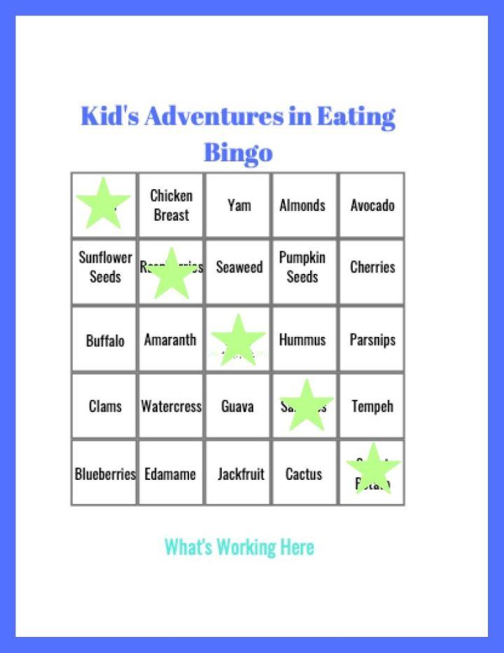 Kid's Adventures in Eating Bingo