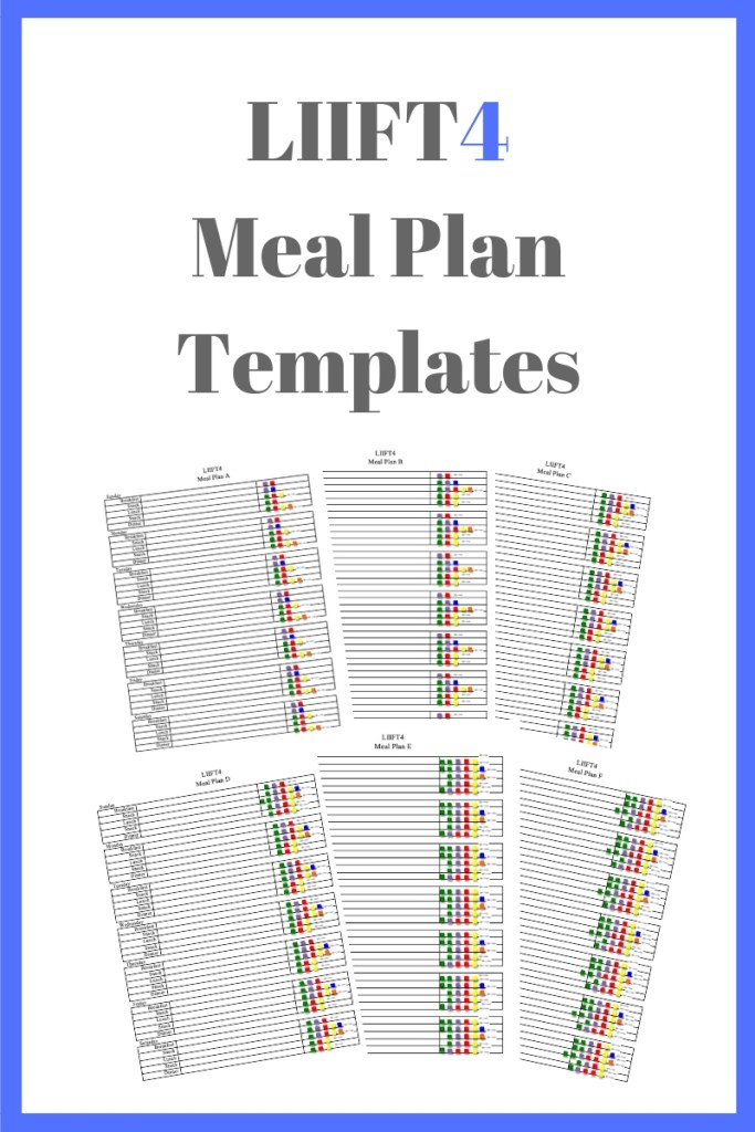LIIFT4 Meal Plan Templates for each eating plan