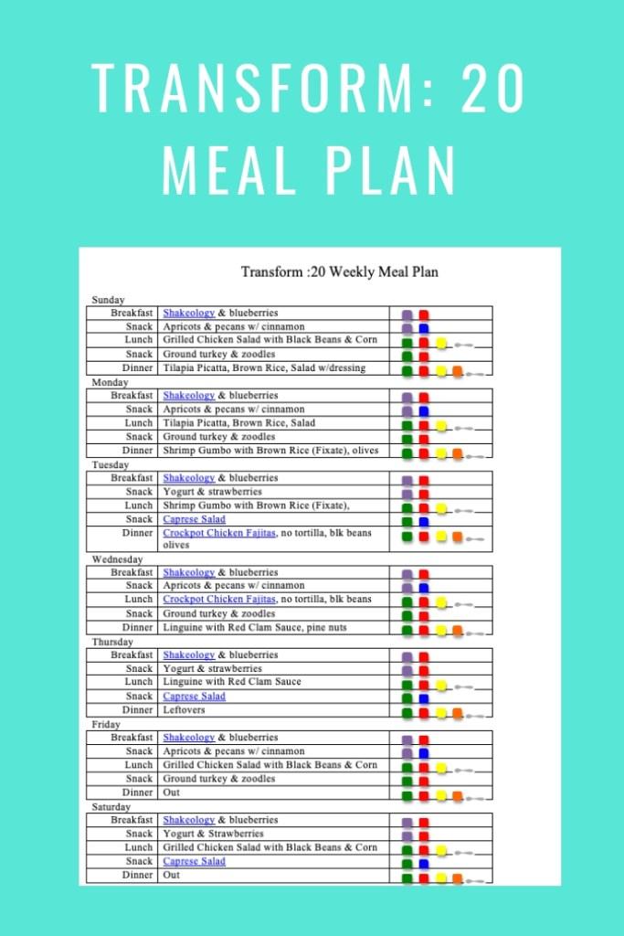 Transform 20 Meal Plan- Jan 27