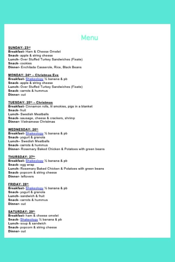 Weekly Menu- Dec 23