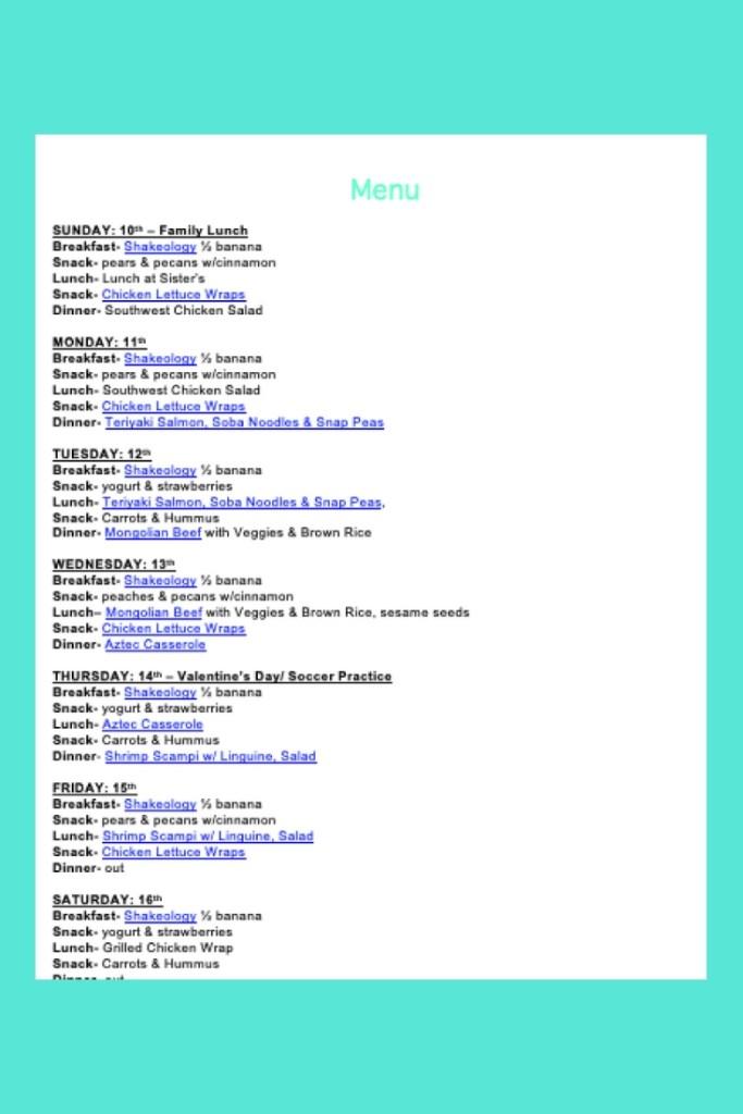 Weekly Menu- Feb 10 - breakfast, snacks, lunch, dinner
