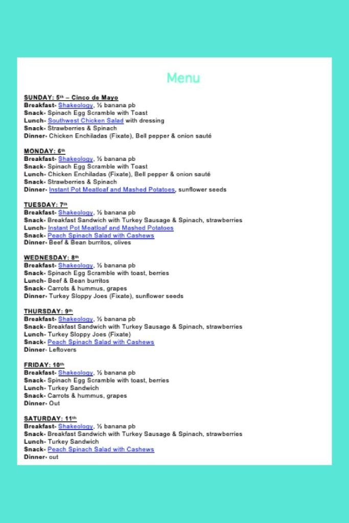 Weekly Menu- May 5