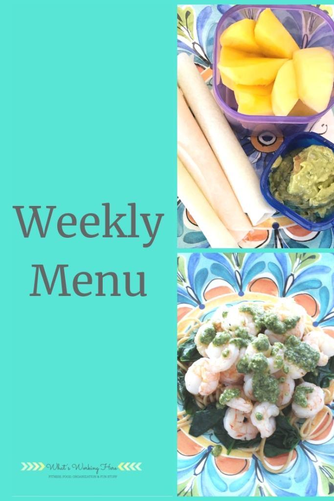 Weekly menu- garden harvest meals - jicama tacos, guacamole, mango, shrimp & spinach pesto pasta