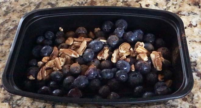 blueberries & pecans with a dash of cinnamon makes a tasty snack