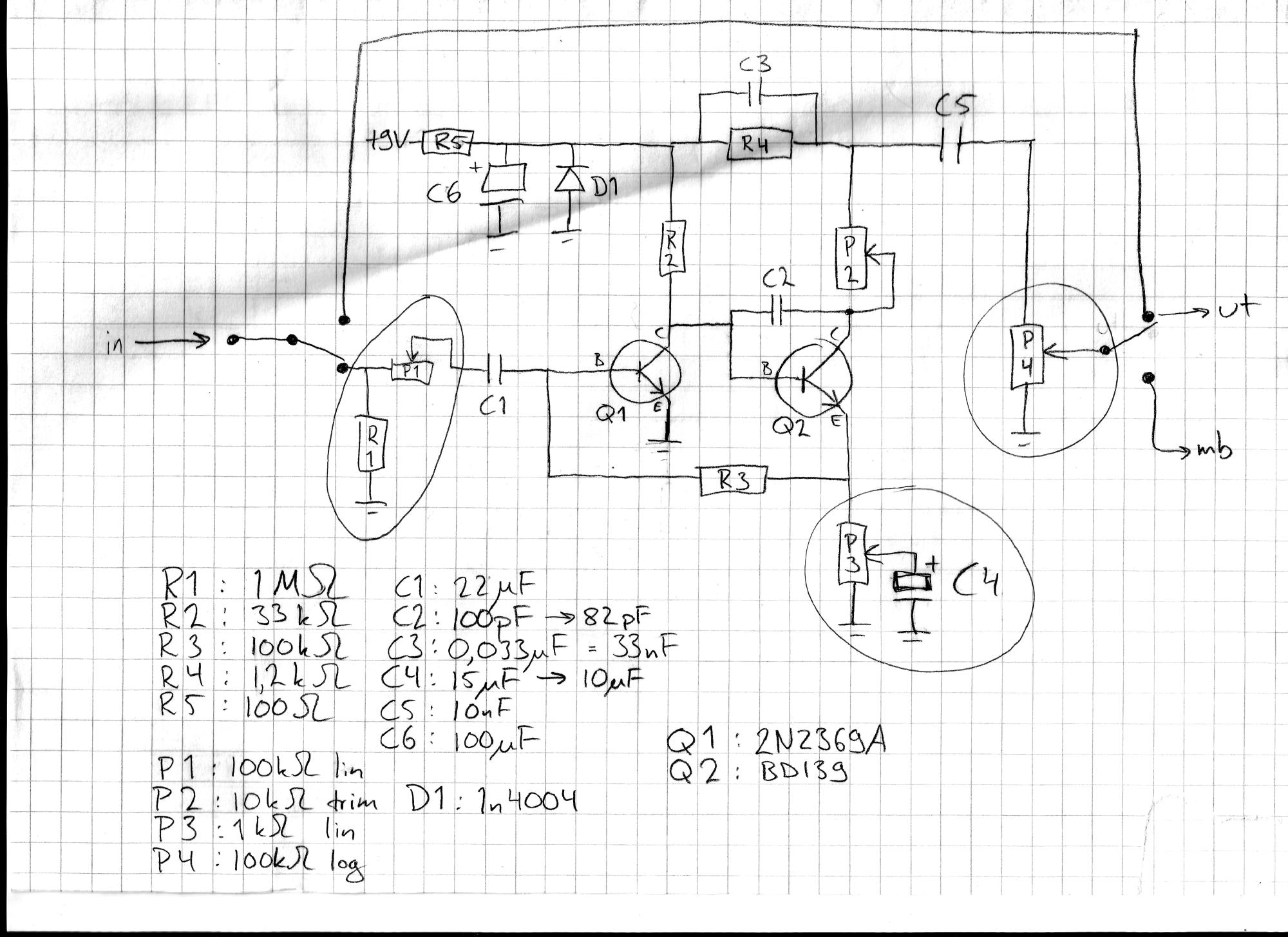 hight resolution of the pedal will have controls for attack smoothness and output volume with an internal trimpot setting the bias for the second gain stage