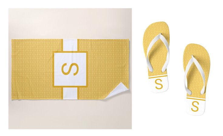 Yellow gold towel sandal combo