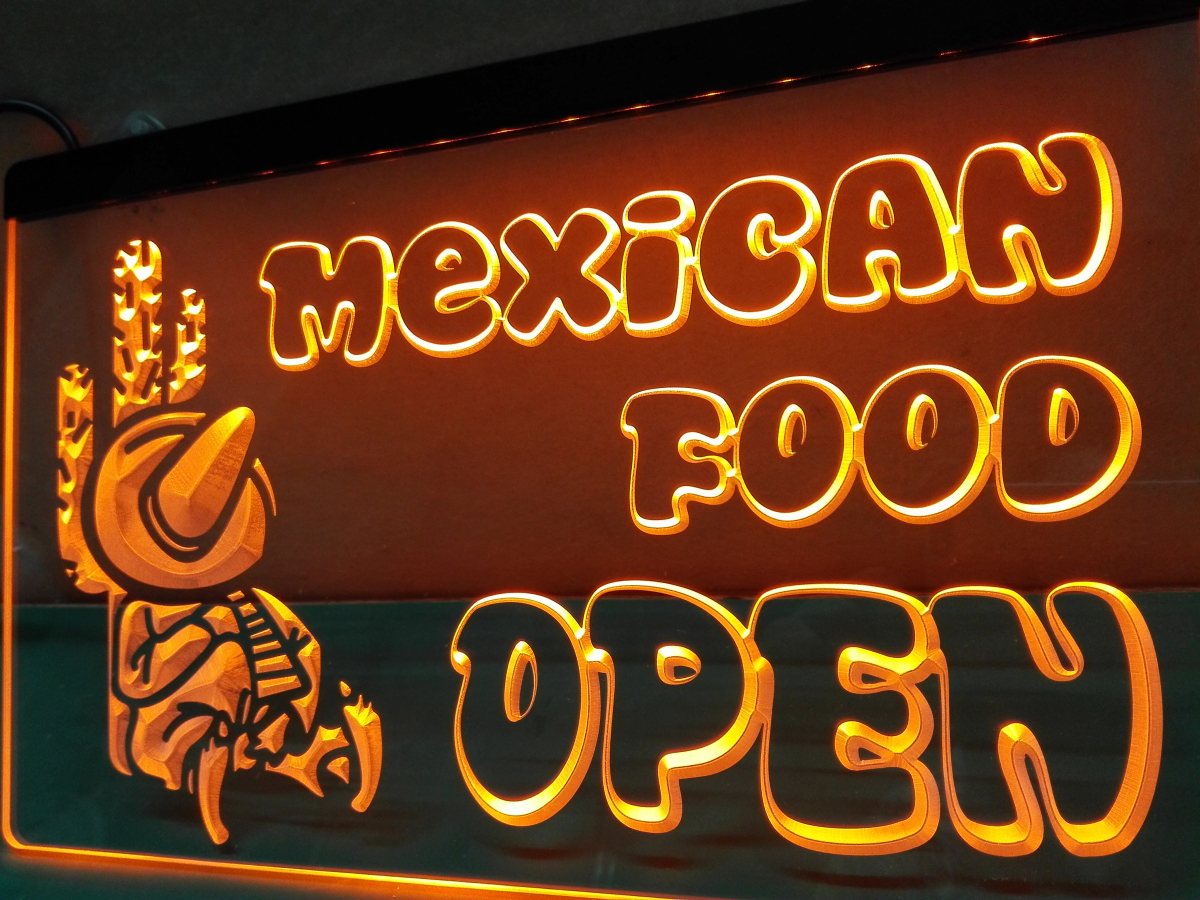 Mexican Food Open Neon Sign Led Sign Shop What S