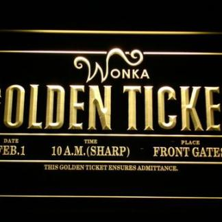Willy Wonka And The Chocolate Factory Golden Ticket neon sign LED
