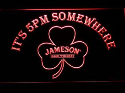 Jameson Shamrock It's 5pm Somewhere neon sign LED