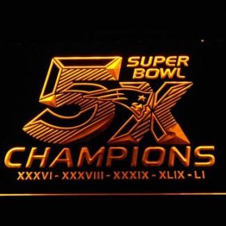 New England Patriots 5X Super Bowl Champions neon sign LED