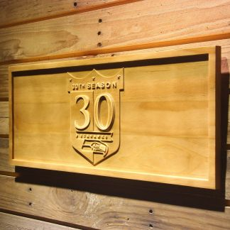 Seattle Seahawks 30th Anniversary Logo Wood Sign - Legacy Edition neon sign LED