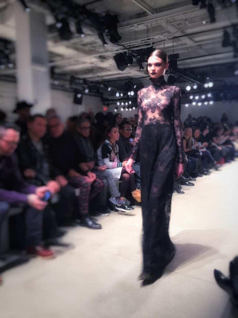 georgine, black lace gown, aw16, nyfw, doost, juana grant