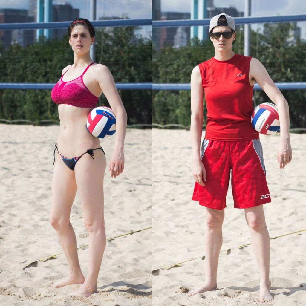 men wearing women's bikini Beach Volleyball — men typically wear loose long shorts and a baggy-ish  muscle shirt. Hats and sunglasses are frequently seen. Women often opt for  bikini ...