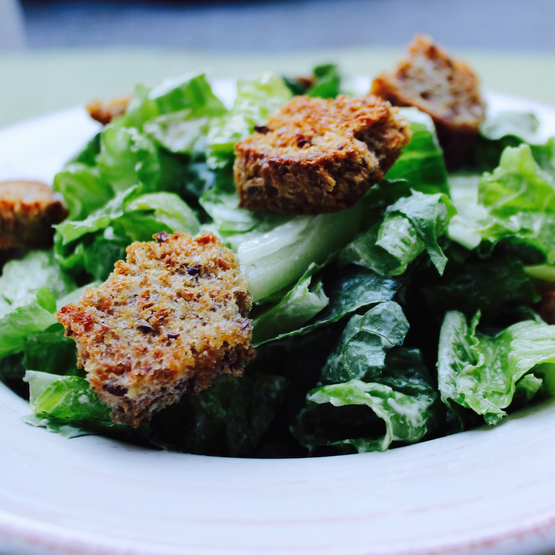 The Best Tasting Caeser Salad Ever with Maple Croutons
