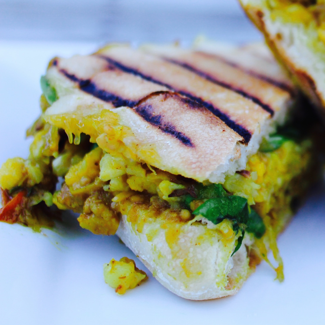 Spiced Chickpea, Mango Chutney and Cauliflower Curry Panini