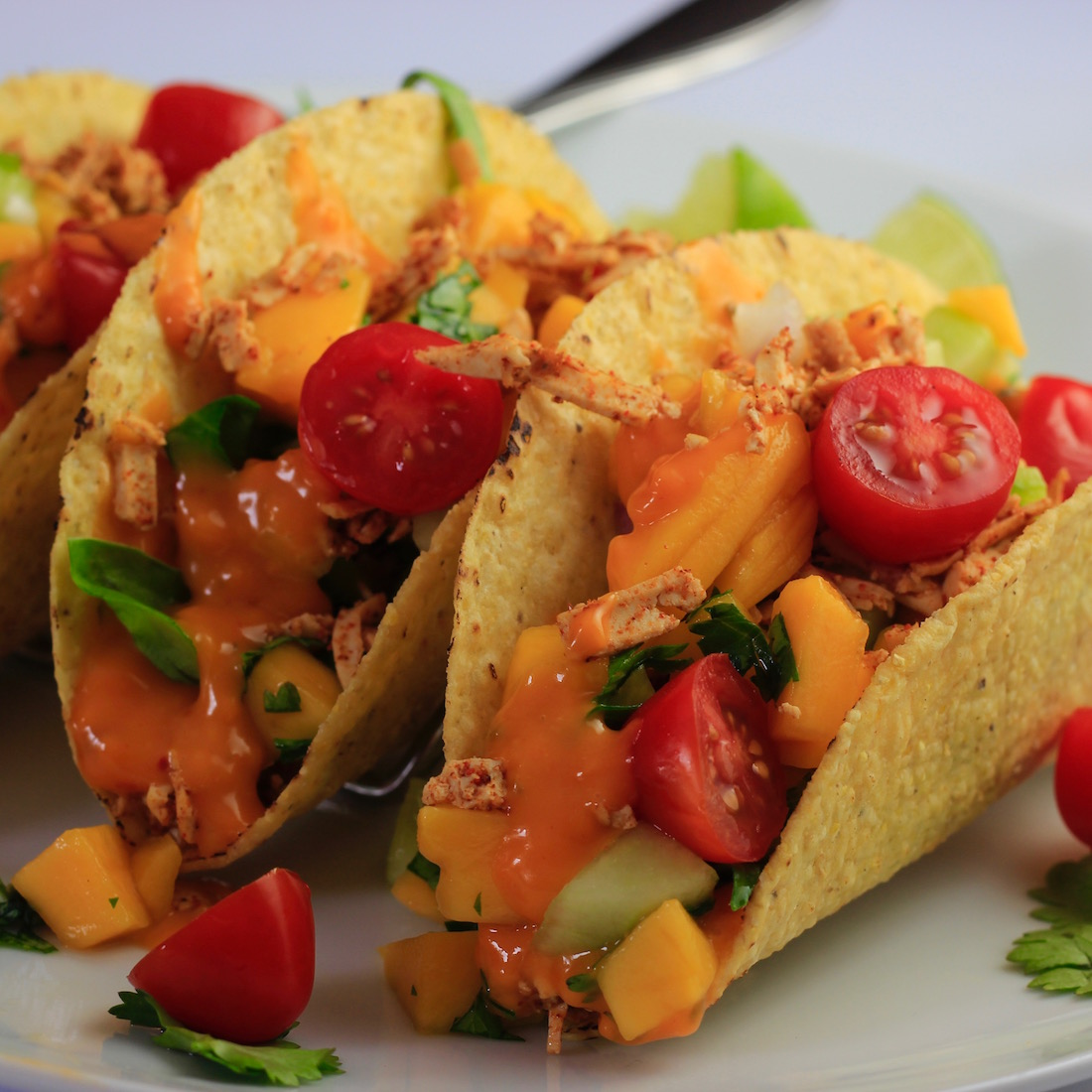Tofu Tacos with Melted Chao Cayenne Cheese and Mango Salsa9