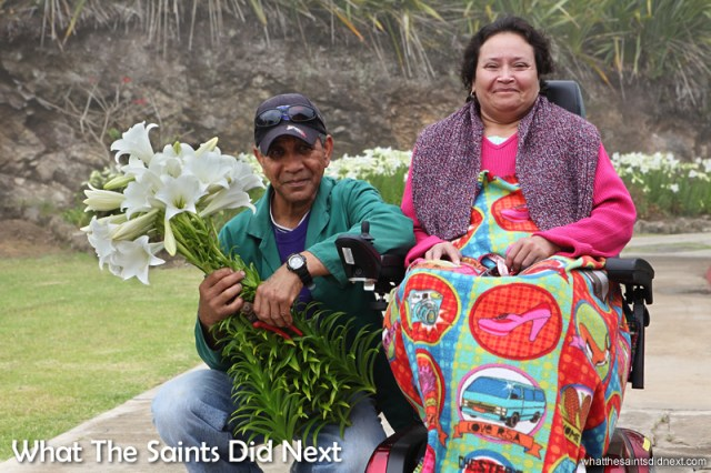 Alex and Angela enjoying their amazing garden of Christmas Lilies. The smell of Christmas on St Helena.