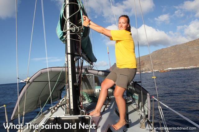 Cathleen demonstrating how the sails are changed and configured - St Helena Governor's Cup Yacht Race.