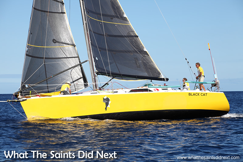 St Helena Governor's Cup Yacht Race winners, Black Cat on the morning of 8 January 2015, arriving at St Helena.