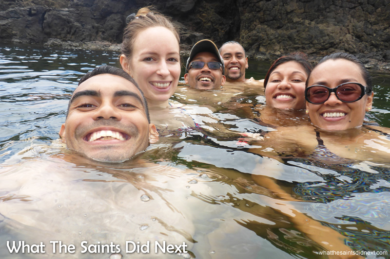 A six person selfie while treading water - not as easy as it looks!