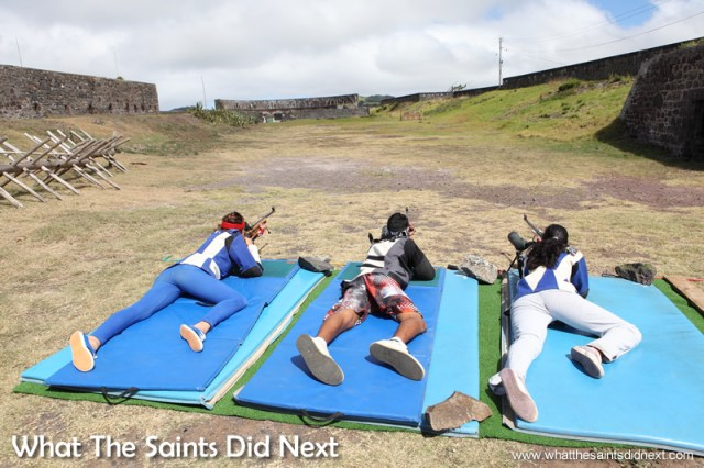 Chelsea, Jordie and Madolyn, training at 100yds in 2014, ahead of the Commonwealth Games in Glasgow. Rifle Shooting On St Helena.