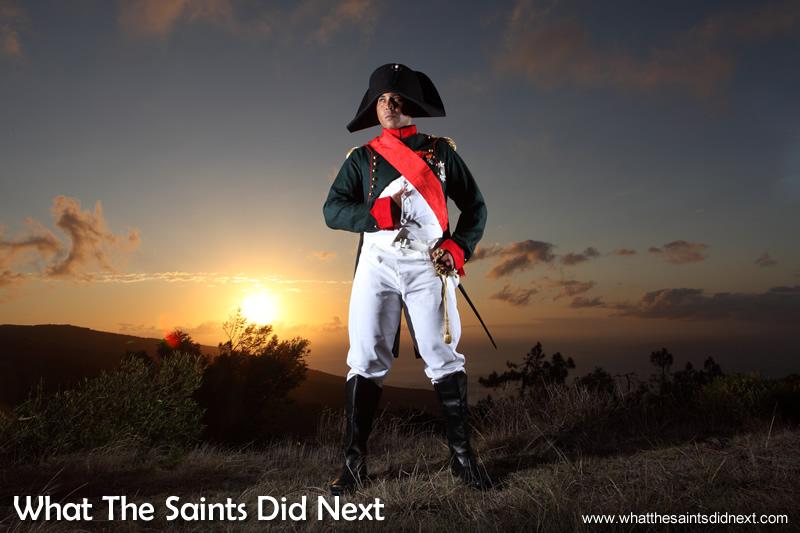 The Napoleon photo shoot on St Helena with Merrill Joshua. The Napoleon Bonaparte uniform.