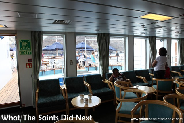 Looking out from the Sun Lounge as the vessel turns on the anchorage. Voyage on the RMS St Helena.