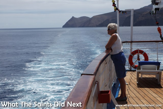 The sea voyage begins. Voyage on the RMS St Helena.