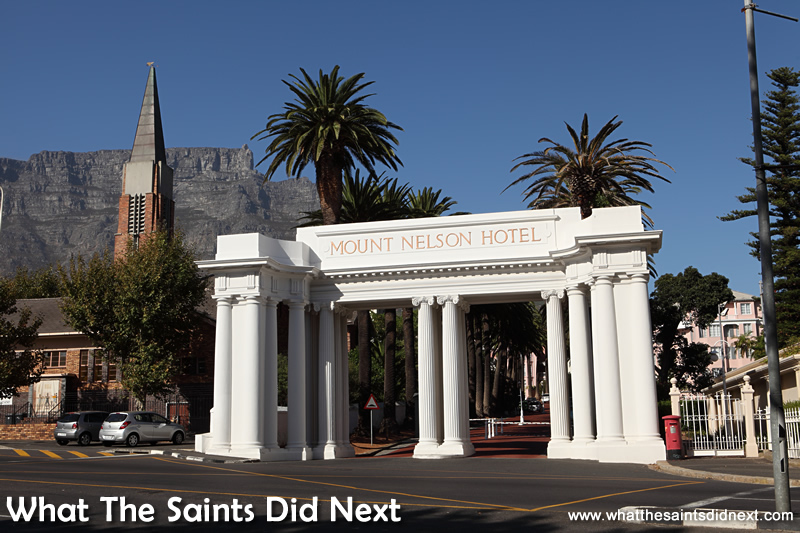 The grand entrance to the Mount Nelson Hotel in the city of Cape Town.