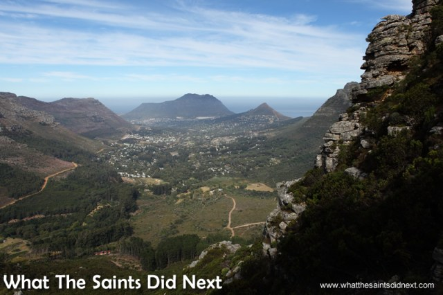 The view toward Hout Bay. Hiking The Table Mountain National Park.