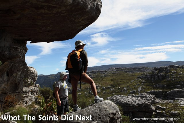 The large rock formations were great to look at. Hiking The Table Mountain National Park.