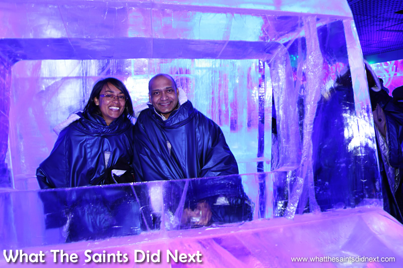 Simon and me in the frozen car. Icebar London – Quite Literally The Coolest London Experience.