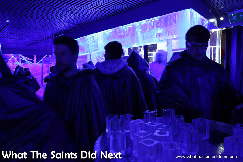 Like Eskimos all wearing the same outfit! The London Ice bar is quite literally the coolest bar in the city.