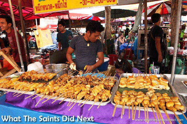 No excuse to go hungry, food stalls are everywhere at the Bangkok street market.