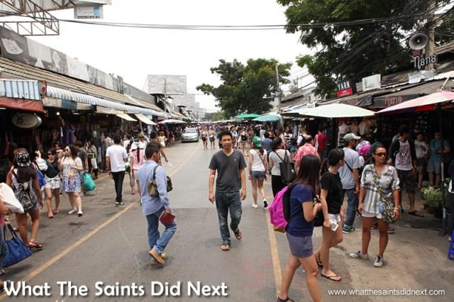 The Chatuchak Weekend Market is in full swing before 10am.
