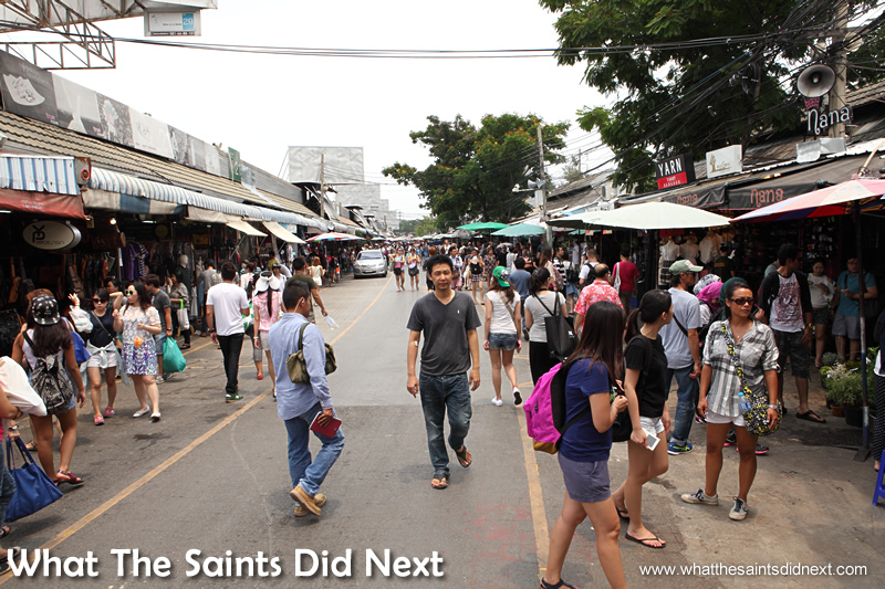 The Chatuchak Weekend Market is in full swing before 10am.