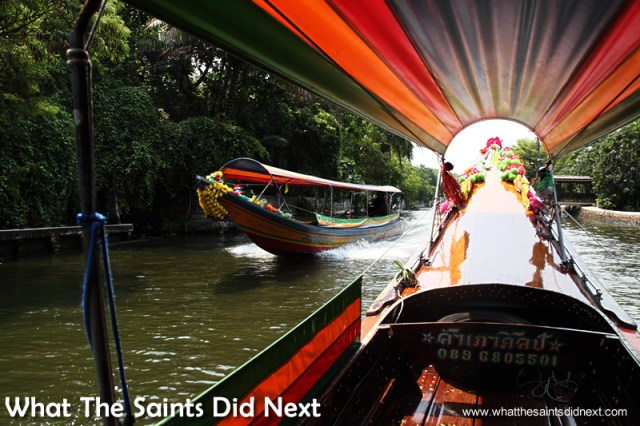 A canal tour at the right time of day makes a great photography excursion. Bangkok Long Tail Boat Tour.