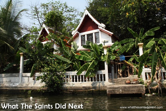 Fruit trees surround the entire area. Bangkok Long Tail Boat Tour.