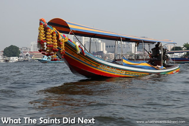 The long tail boat tours begin and end on the big Chao Pro river.