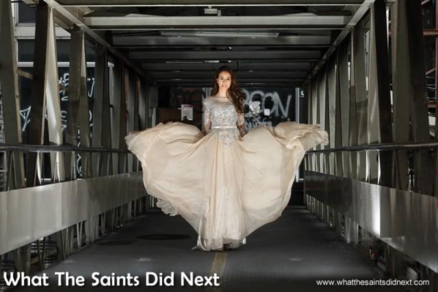 Miss Grand International on the Bangkok walkway over the street.