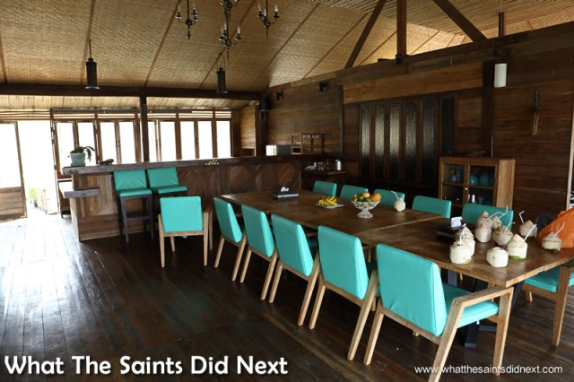 The dining room on our houseboat. Mountain Float - Thailand's Secret Holiday Hideaway.