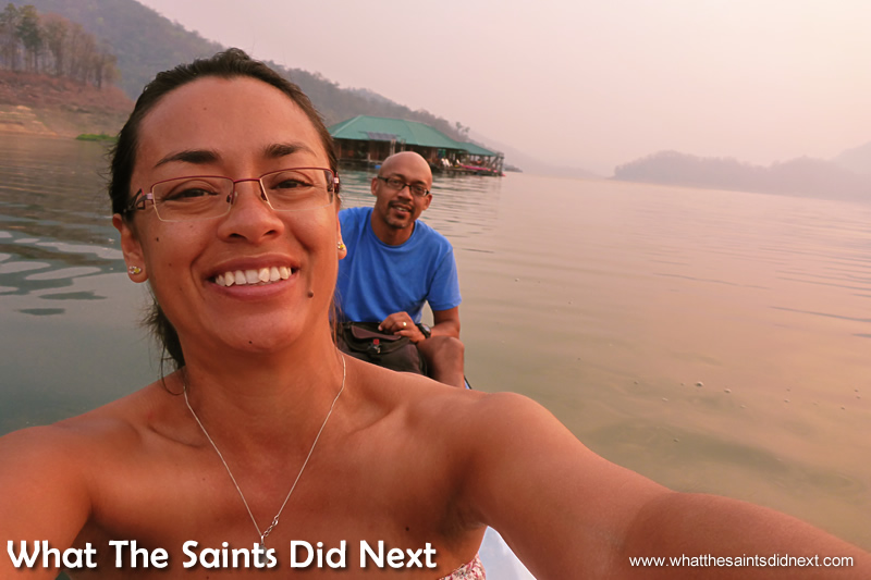 Two happy campers on their way for breakfast. A Thailand sunrise.