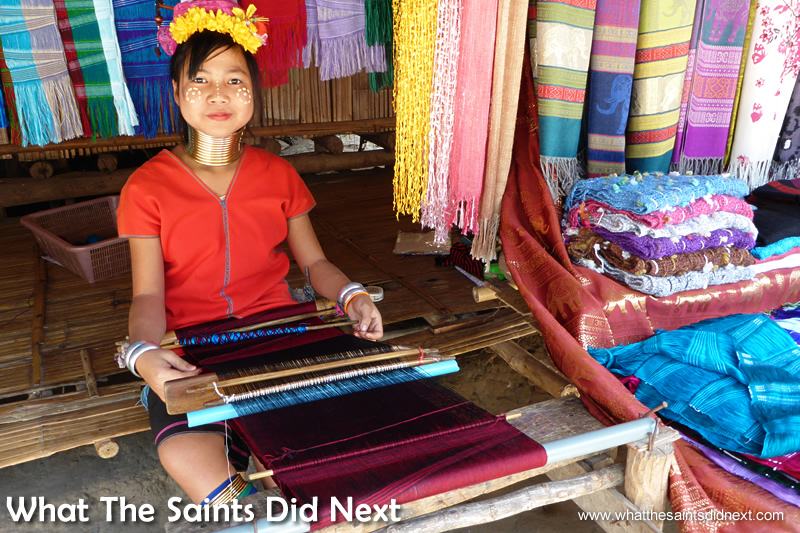 Baan Tong Luang village, weaving the scarves using traditional methods.