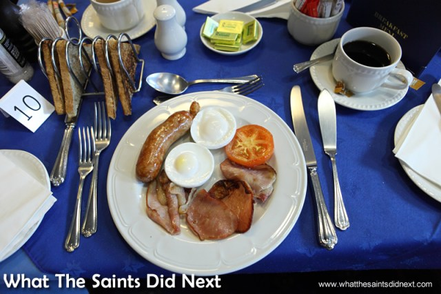 A full English breakfast, here we go then!  Photographs of the RMS St Helena.