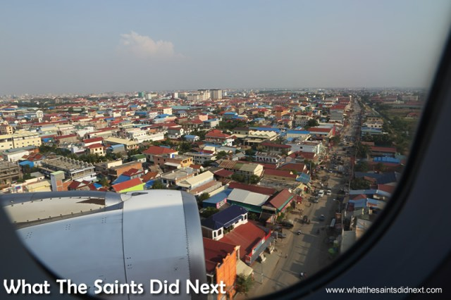 Phnom Penh as seen from an airplane on final approach to landing. Walking The Streets Of Phnom Penh.