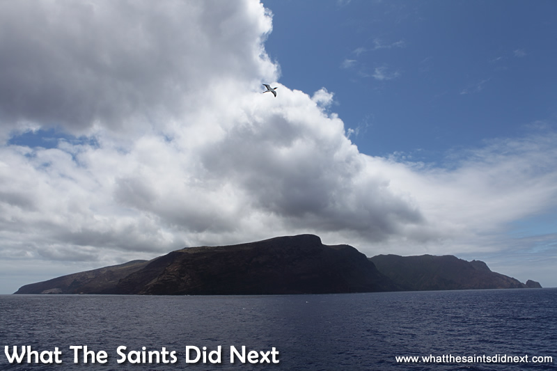 St Helena information - A photo of the entire island, as seen from out to sea on board the RMS St Helena.