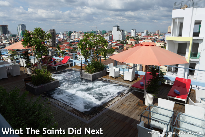 The Frangipani has a roof top mini-pool and bar with great views over the city.