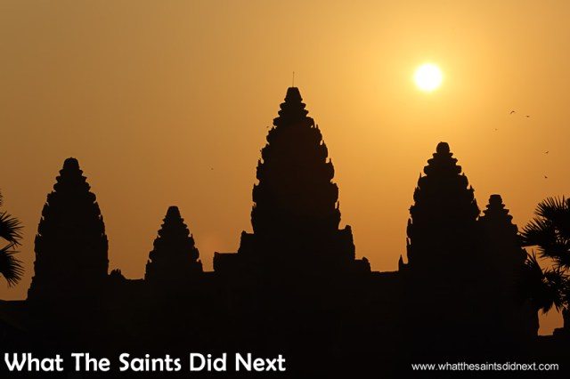 Already over 30C by this point, the day is heating up fast. Watching an Angkor Wat sunrise.